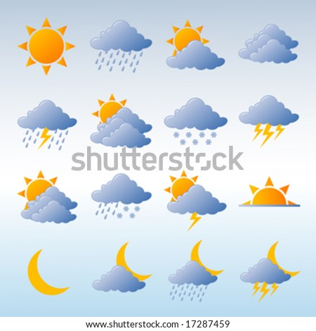 Weather icons fully editable vector illustration - stock vector