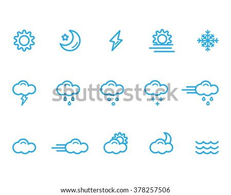 weather icons line - stock vector