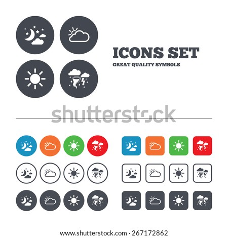 Weather icons. Moon and stars night. Cloud and sun signs. Storm or thunderstorm with lightning symbol. Web buttons set. Circles and squares templates. Vector - stock vector