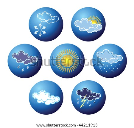 Weather icons on balls. Vector.