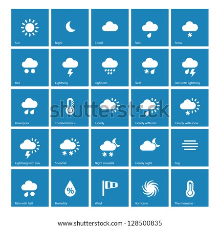 Weather Icons On Blue Background Vector Stock Vector 128500835