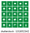 Weather icons on green background. Vector. - stock vector