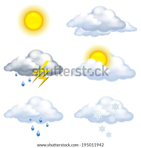 weather icons on white background - stock vector