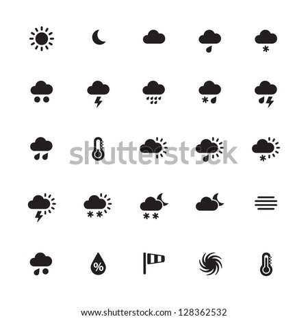 Weather icons on white background. Vector illustration. - stock vector