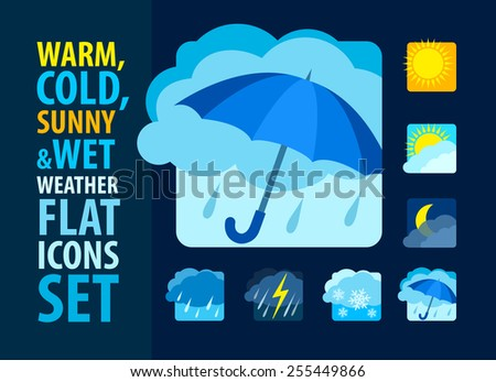 Weather icons set flat. Eps10 vector illustration - stock vector