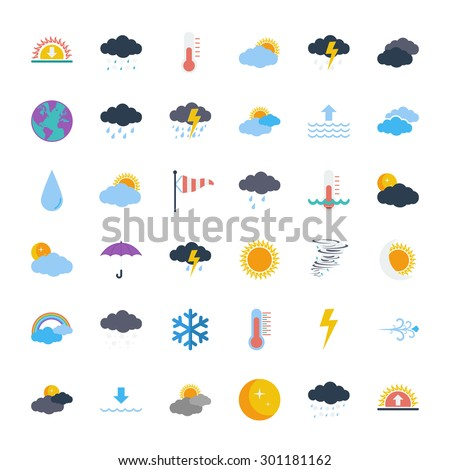 Weather icons set. Flat vector related icons set for web and mobile applications. It can be used as - logo, pictogram, icon, infographic element. Vector Illustration.  - stock vector
