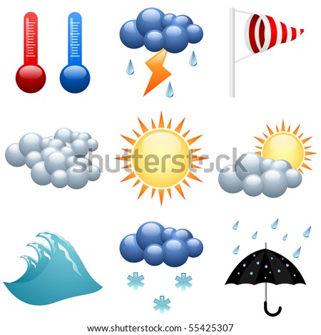 Weather icons set  for forecast web pages. EPS10 file. - stock vector
