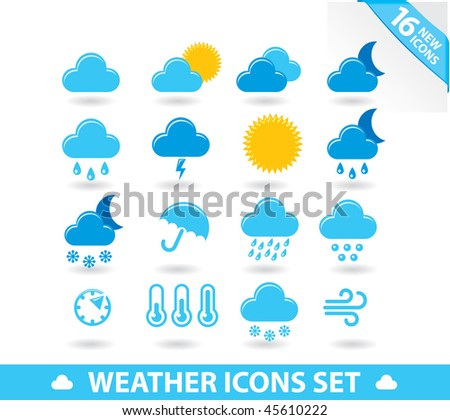 Weather icons set. Fresh vector design. - stock vector