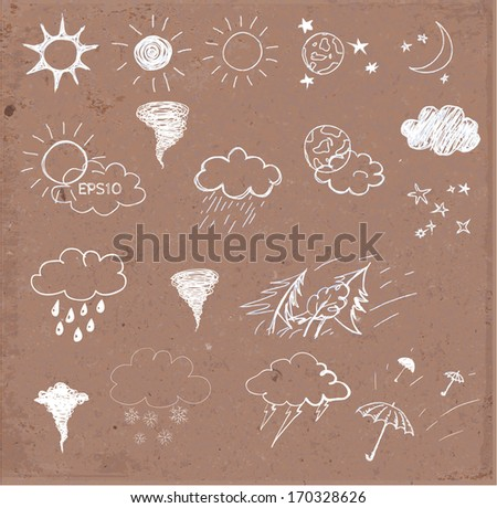 Weather icons set. Hand drawn sketch illustration on brown paper. Vector illustration.