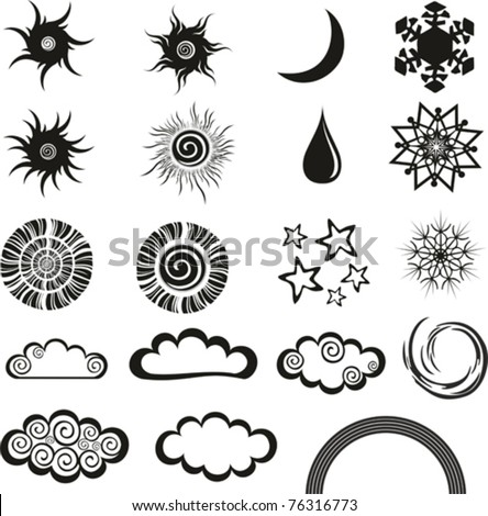 weather icons set isolated on White background. Vector illustration