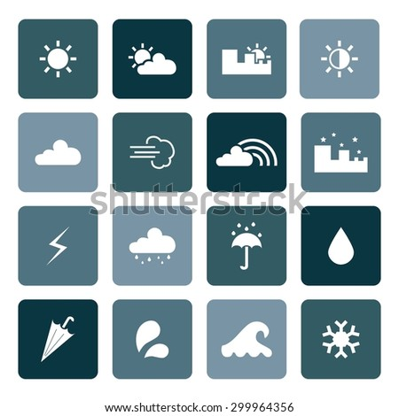 Weather icons. Set of weather icons. Vector. Silhouette. White icons. - stock vector
