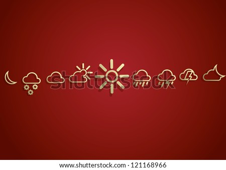 Weather  Icons Set on the red background. eps10. Image contain transparency and various blending modes - stock vector