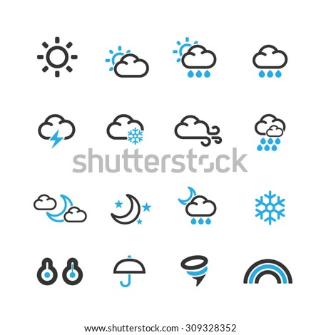 Weather Icons set,Vector - stock vector