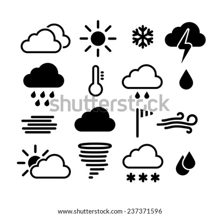 Weather icons set. Vector EPS 10. - stock vector
