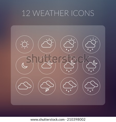 Weather Icons Set. Vector Illustration, eps10, contains transparencies. - stock vector