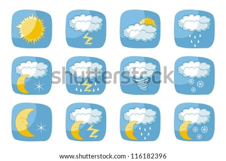 Weather icons set with various atmospheric phenomena - stock vector