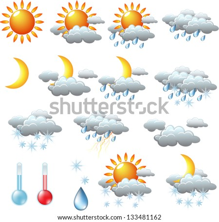 weather icons: sun, rain, snow, storm, clouds - stock vector