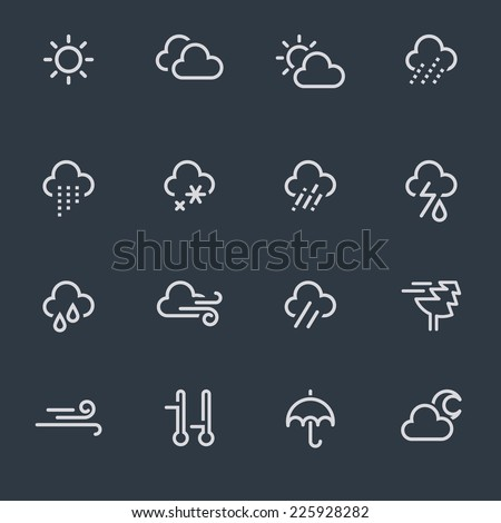weather icons, thin line design, dark background - stock vector