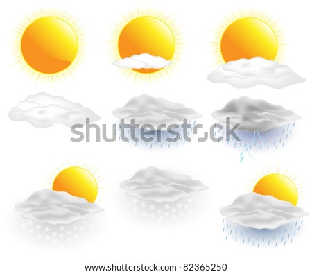 Weather icons. Vector. - stock vector