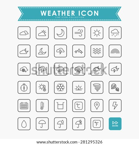 weather line icons - stock vector