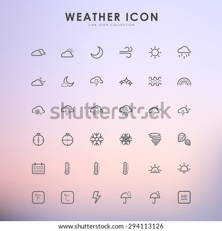 weather line icons on gradient background - stock vector
