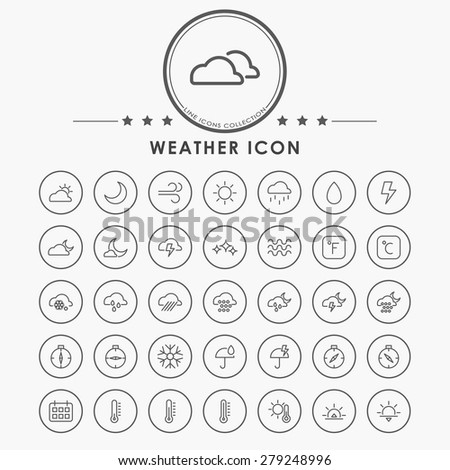 weather line icons with circle button - stock vector