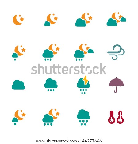 Weather night icons set - stock vector