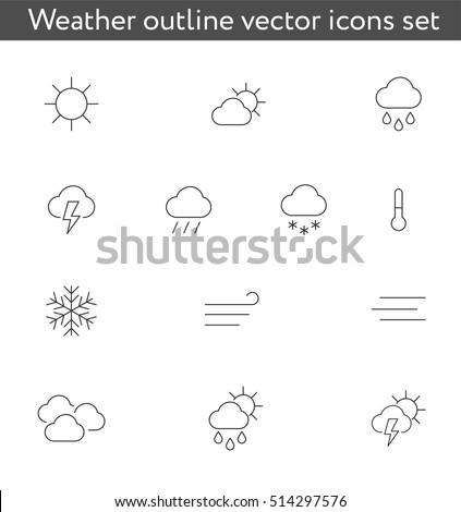 Weather outline icons vector set
