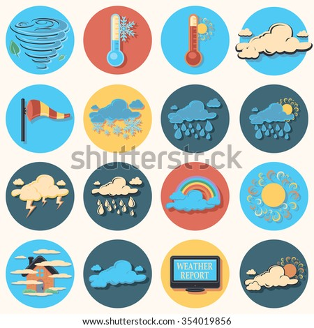 weather report flat icons - stock vector