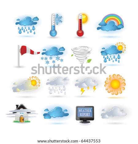 Weather report  icon set - stock vector