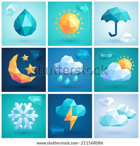 Weather set - geometric icons. - stock vector