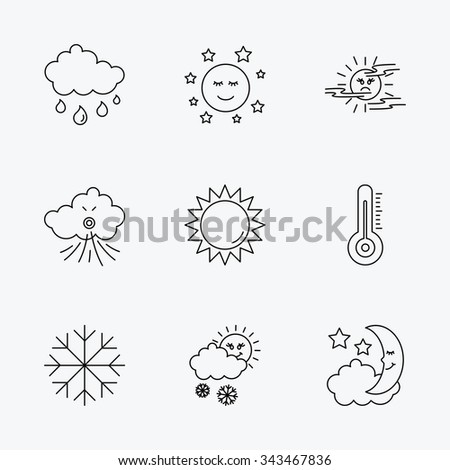Weather, sun and rain icons. Moon night, clouds and mist linear signs. Wind and snowflakes flat line icons. Linear black icons on white background.