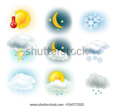 weather symbols. Sun, clouds, moon, rain, snow and thermometer icons. vector illustration - stock vector
