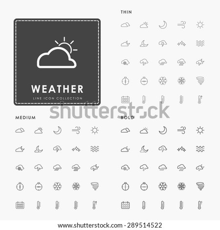 weather thin, medium and bold line icons - stock vector