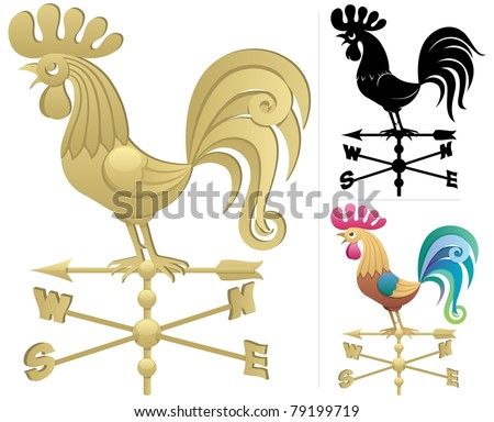 Weather Vane: Illustration of a weather vane in 3 versions. No transparency used. Basic (linear) gradients used. - stock vector