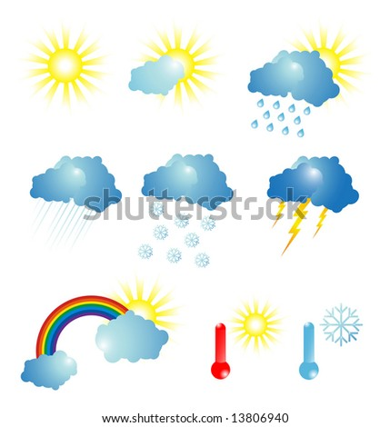 Weather. Vector icon set - stock vector
