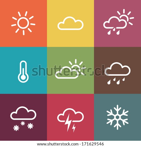 Weather Vector Icons on vintage colorful tiles background. Isolated from background. Each icon in separately folder. - stock vector