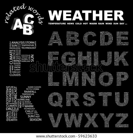 WEATHER. Vector letter collection. Illustration with different association terms.