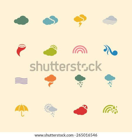Weather vintage color icons A