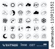 Weather web icons set. Hand drawn sketch illustration isolated on white background - stock vector