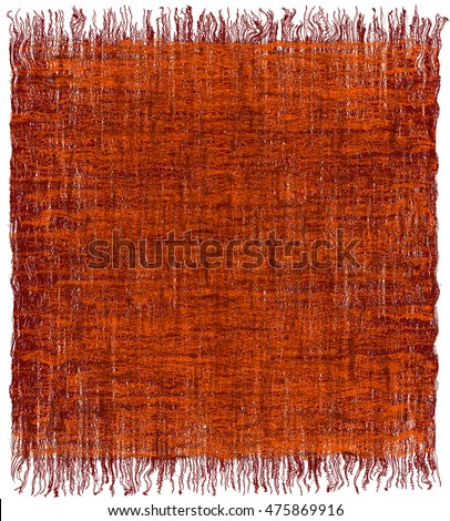 Weave grunge striped interlaced carpet with fringe in orange,brown colors