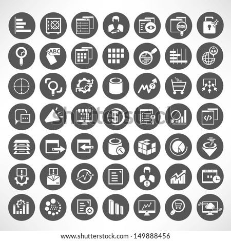 web analytic icons set, data analytic icon set, buttons set - stock vector