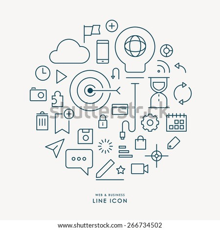 web and business line icon infographic - stock vector