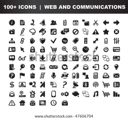 Web and communications icons set. 100 items. Black and white - stock vector