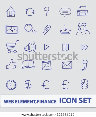 Web and finance icon set,drawing icons,Vector