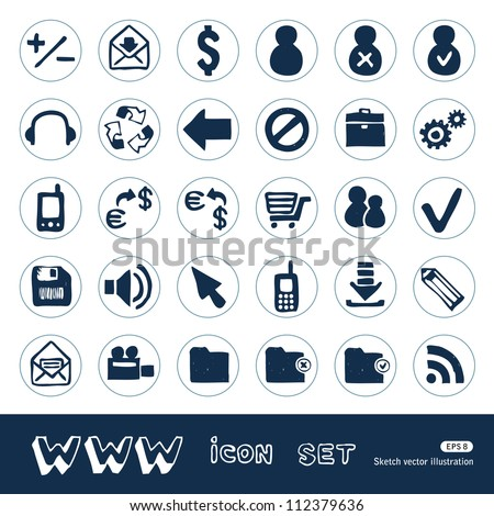 Web and finance icons set. Hand drawn sketch illustration isolated on white background