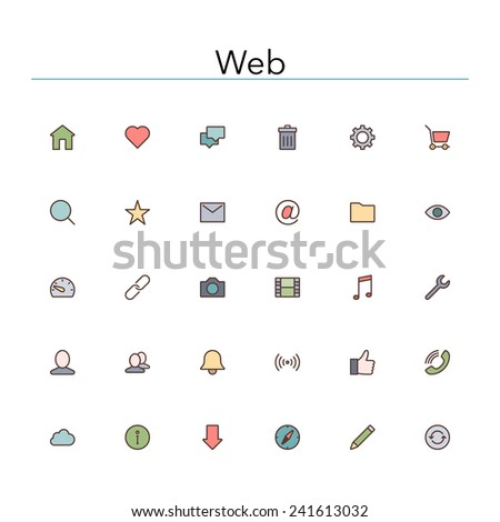 Web and internet colored line icons set. Vector illustration. - stock vector