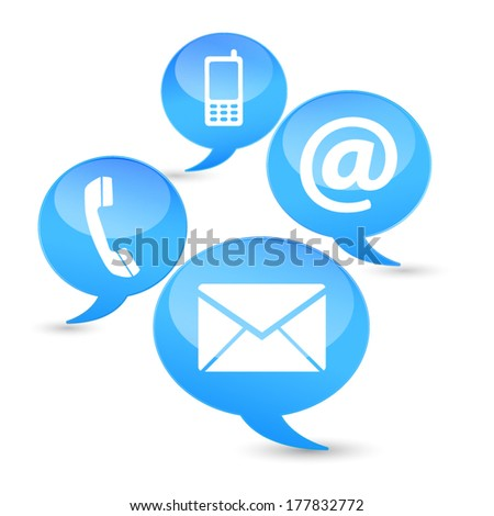 Web and Internet contact us icons and design symbols on blue clouds with glossy effect. EPS10 vector illustration isolated on white background.