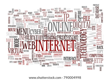 web and internet related words designed as a word cloud in different sizes and directions