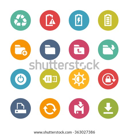 Web and Mobile Icons 3 // Fresh Colors Series ++ Icons and buttons in different layers, easy to change colors ++ - stock vector